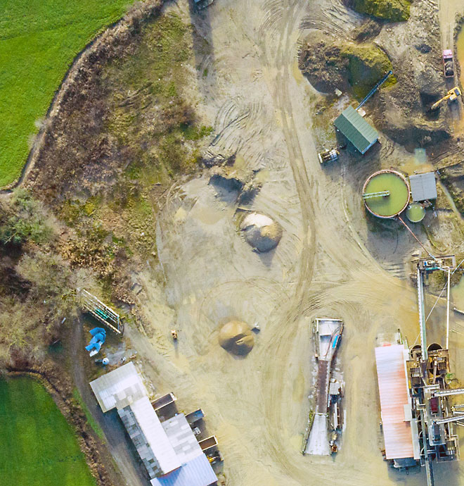 Overhead view of green mining site